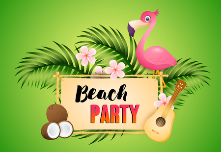 Illustration pour Beach Party lettering with flamingo, ukulele and coconut. Tourism, summer, holiday design. Handwritten and typed text, calligraphy. For leaflets, brochures, invitations, posters or banners. - image libre de droit