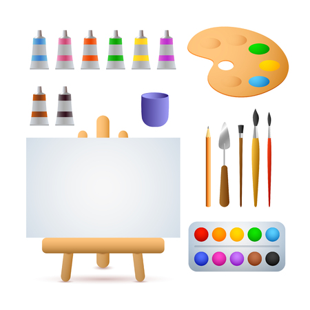 Illustration pour Art studio vector illustration. Oil paints, watercolors, brushes, easel. Painting concept. Vector illustration can be used for topics like art, hobby, leisure - image libre de droit