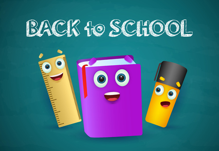 Illustration pour Back to school lettering, marker, notebook and ruler. Offer or sale advertising design. Typed text, calligraphy. For leaflets, brochures, invitations, posters or banners. - image libre de droit