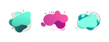Photo pour Liquid abstract geometric shape set. Cyan, green, pink blobs, hatched and dotted elements, wavy lines. Flowing splashes, fluid forms. Vector illustration for banner, poster, flyer design - image libre de droit