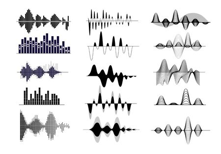 Illustration pour Sound wave set. Radio frequency, audio record, waveform, voice curve. Sound concept. Vector illustrations can be used for topics like song, music, soundtrack - image libre de droit