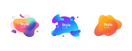 Illustration pour Set of abstract modern orange, violet, blue graphic elements. Dynamical colored forms and lines. Gradient abstract banners with flowing liquid shapes. Template for logo, flyer, presentation - image libre de droit