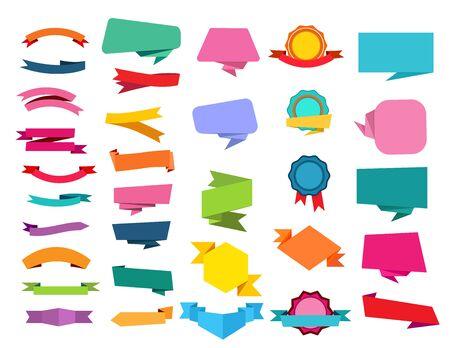 Illustration pour Cartoon ribbon set. Speech bubbles, origami, medal, awards. Banners concept. Vector illustrations can be used for sale, tag, emblem templates - image libre de droit