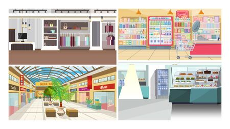 Illustration for Shops and cafes flat vector illustration set. Mall, food shop, clothes store. Shopping concept - Royalty Free Image