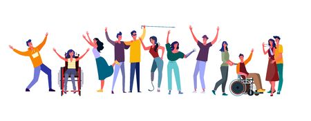 Illustration for Diverse people set. Disabled men and women community. Flat vector illustrations. Diversity, communication concept for banner, website design or landing web page - Royalty Free Image