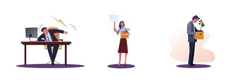 Set of frustrated fired people. Flat vector illustrations of boss screaming, workers carrying box with things. Career failure concept for banner, website design or landing web page