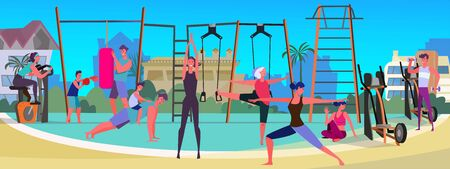 Group of people exercising outside. Sport ground, outdoor workout gym, equipment flat vector illustration. Fitness, body training concept for banner, website design or landing web page
