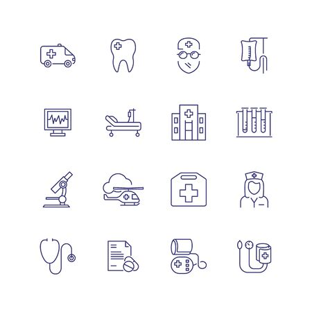 Photo pour Medical help line icon set. Doctor, hospital, stethoscope. Medicine concept. Can be used for topics like ambulance, emergency, health care - image libre de droit
