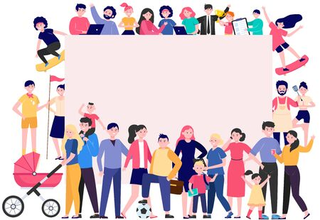 Illustration pour Crowd of happy people with blank placard flat vector illustration. Cartoon multicultural men and women standing together. Community, society and population concept - image libre de droit