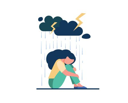 Illustration pour Young lonely girl sitting under storm cloud isolated flat vector illustration. Cartoon unhappy woman crying because of problems. Depression and mental disorder concept - image libre de droit