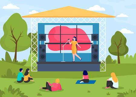 Illustration pour Outdoor music festival. People enjoying concert at stage in park flat vector illustration. Concert, performance, festive event concept for banner, website design or landing web page - image libre de droit