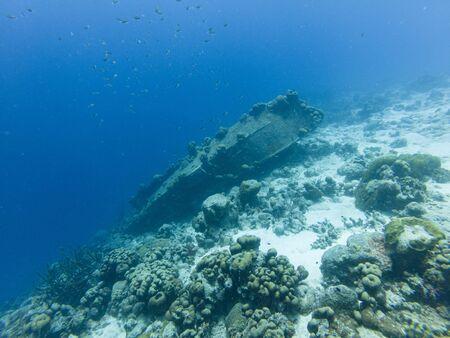 La Machaca shipwreck on coral reef off Captain Don's Habitat, Bonaire, Dutch Caribbean