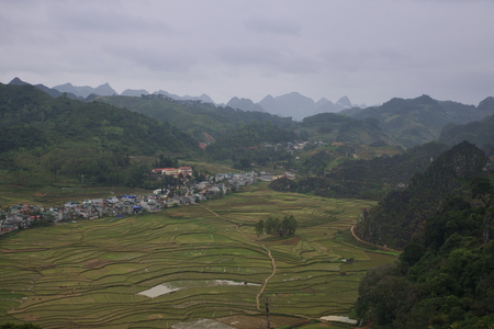 Landscape from Meo Vac city and its fields