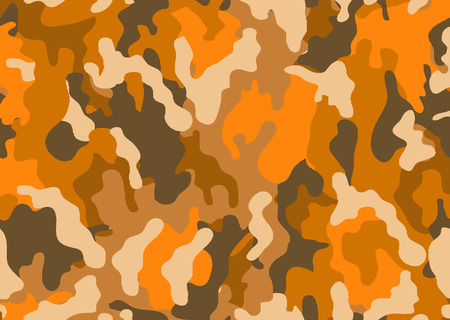 Illustration pour Abstract military or hunting camouflage background. Woodland  camo texture vector. Orange tone stlye. - image libre de droit