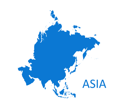 Asia Continent Map. vector illustration on white background.
