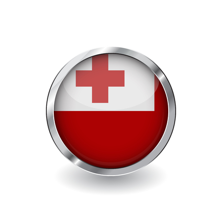 Illustration pour Flag of tonga, button with metal frame and shadow. tonga flag vector icon, badge with glossy effect and metallic border. Realistic vector illustration on white background. - image libre de droit
