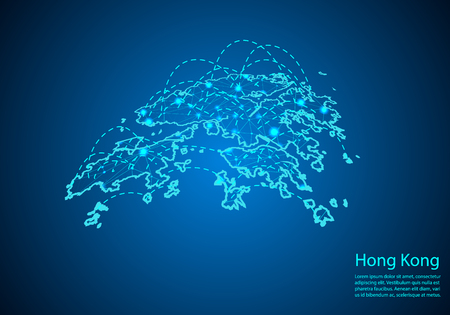 Illustration for hong Kong map with nodes linked by lines. concept of global communication and business. Dark hong Kong map created from white dots with travel locations or internet connection. - Royalty Free Image