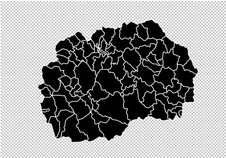 Illustration pour macedonia map - High detailed Black map with counties/regions/states of macedonia. macedonia map isolated on transparent background. - image libre de droit