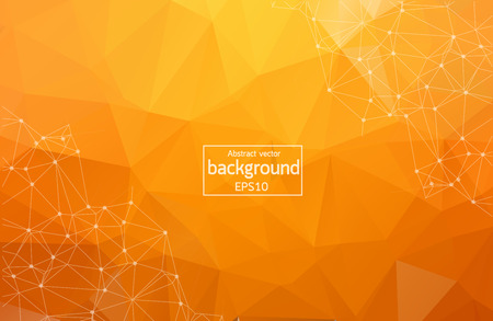Illustration for Bright orange low poly communication background. Vector tech design - Royalty Free Image