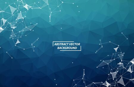 Illustration for Dark Blue Geometric Polygonal background molecule and communication. Connected lines with dots. Minimalism background. Concept of the science, chemistry, biology, medicine, technology. - Royalty Free Image