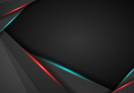 Illustration for abstract red frame with steel texture hole pattern sports tech modern template. Vector graphic template design. Technology background with metallic banner. - Royalty Free Image
