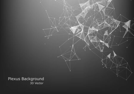 Illustration pour Abstract Internet connection and technology graphic design.  computer geometric digital connection structure. Futuristic black abstract grid. Plexus with particles. - image libre de droit