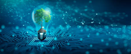 Photo pour Tree with soil growing on  Light bulb. Digital Convergence and and Technology Convergence. Blue light and network background. Green Computing, Green Technology, Green IT, csr, and IT ethics Concept. - image libre de droit