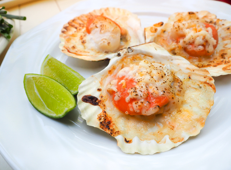 Photo pour Grilled scallops shell with butter and cheese. Thai seafood grilled scallops on white plate. - image libre de droit