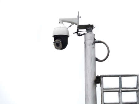 Photo pour 360 Degree fish eye dome CCTV is installed on white background. CCTV for security monitoring. - image libre de droit