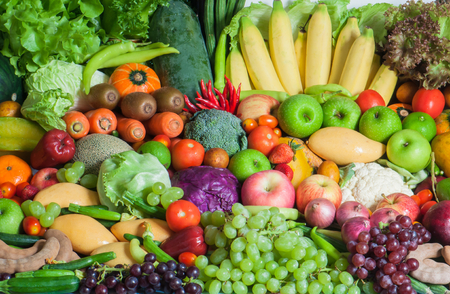 Foto de Mixed Tropical Fruits and vegetables - Imagen libre de derechos