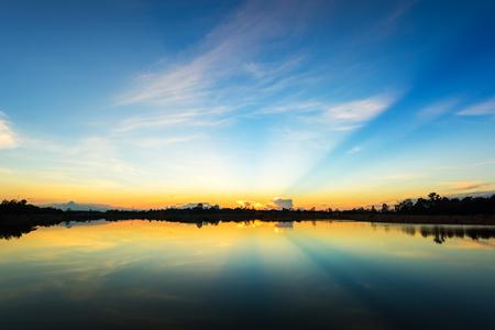 Sunset  at  the calm lake
