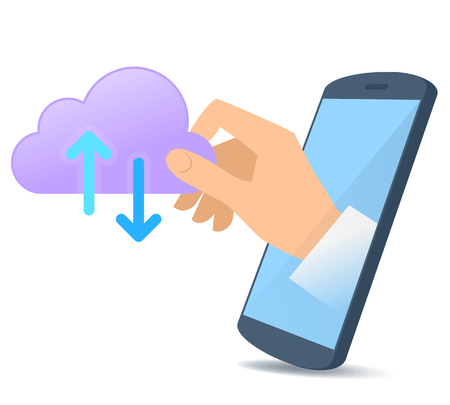 A human hand from the mobile phone's screen holds data cloud symbol. Modern technology, smart phone apps, web storage, upload and download information flat concept illustration. Vector design element.