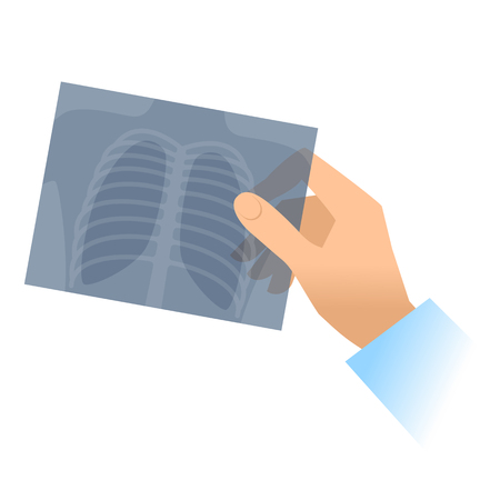Illustration pour Human hand holds x-ray image of lung. Flat illustration of doctor's hand holding radiograph. Medicine, medical exam and diagnosis concept. Vector design elements isolated on white background. - image libre de droit