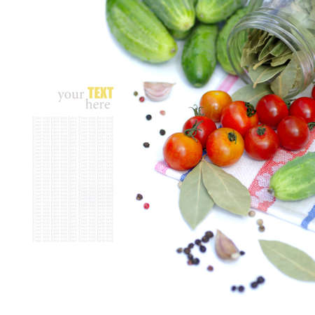 Tomatos and cucumbers on white background  with sample text