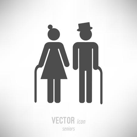 Illustration for Vector illustration of flat design seniors couple icon. dark grey - Royalty Free Image