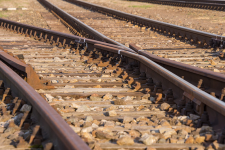 Photo pour rail transport, rails with switches and blurred background - image libre de droit