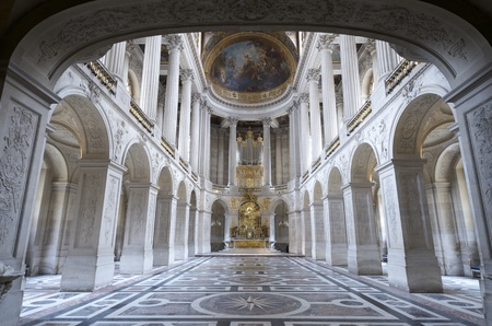 inside view of the Royal Chapelle of Versailles Palace, France