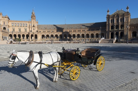 Typical  horse-drawn carriage in Given Spain's Square, located in the Parque Maria Luisa, was the  venue for the Latin American Exhibition of 1929, Seville, Andalucia, Spain