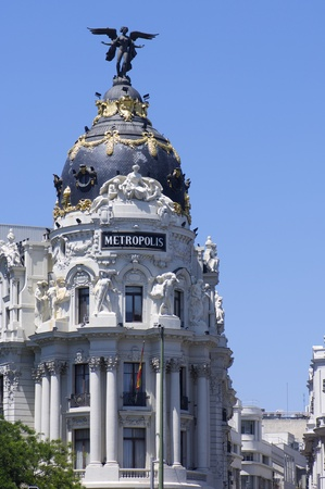Madrid, Spain - June 7, 2008: view of the famous Metropolis Building, located at the intersection of  Gran Via and Alcala Streets, Madrid, Spain