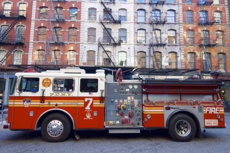 New York, USA - December 31, 2007: A fire truck from the New York Fire Department is parked on a street in Manhattan.