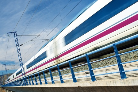 view of a high-speed train crossing a viaduct in Arandiga, Zaragoza, Aragon, Spain. AVE Madrid Barcelona.