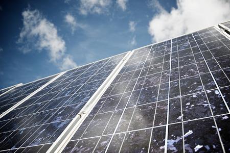 Photo pour Detail of a photovoltaic panel for renewable electric production. - image libre de droit