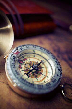 Foto für Vintage compass and old navigation map. - Lizenzfreies Bild