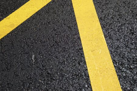 Photo for Yellow line painted on the asphalt. - Royalty Free Image