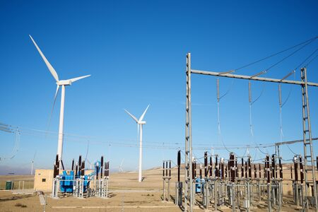 Photo pour Windmills and electrical substation, Zaragoza province, Aragon, Spain. - image libre de droit