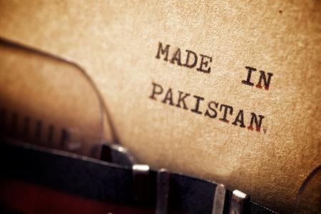 Foto de Made in Pakistan phrase written with a typewriter. - Imagen libre de derechos