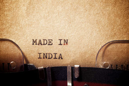 Foto de Made in India phrase written with a typewriter. - Imagen libre de derechos