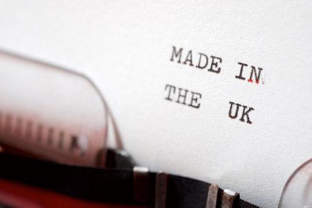 Foto de Made in the UK phrase written with a typewriter. - Imagen libre de derechos