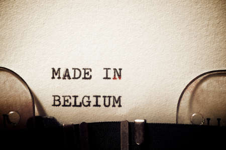 Foto de Made in Belgium phrase written with a typewriter. - Imagen libre de derechos