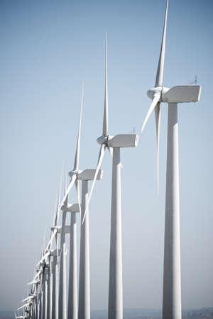 Photo pour Wind turbines for electric power production, Zaragoza province, Aragon in Spain. - image libre de droit